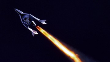 First powered flight of Virgin Galactic's SpaceShipTwo over the Mojave Desert in 2013