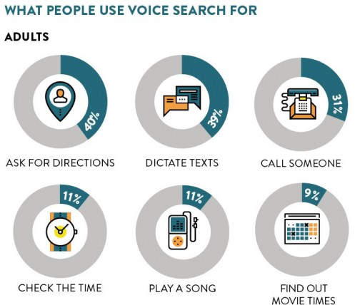 What adults use voice search for