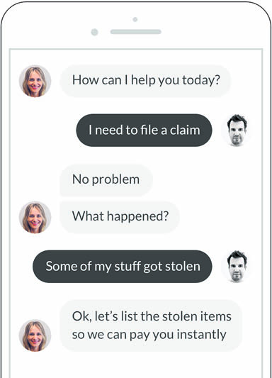 Screenshot of the Lemonade app, powered by an AI chatbot to process claims quickly