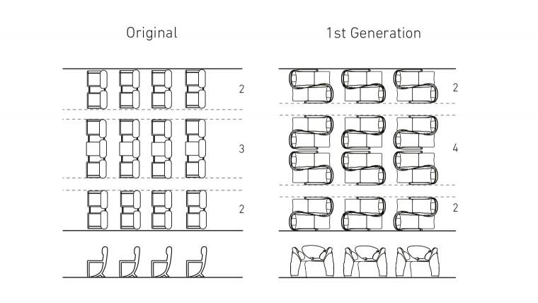 Drawing of british airways 'ying-yang'beds
