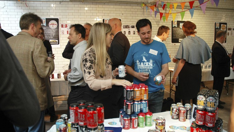 Brewers and guests mingle at the Indie Beer Can Festival