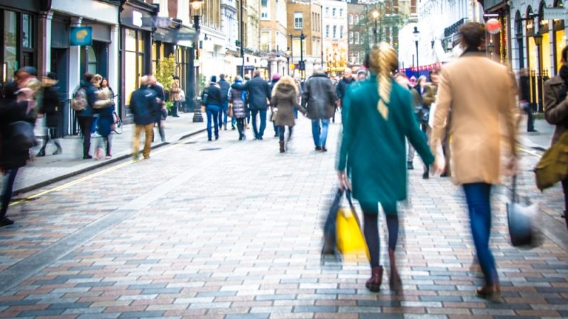 busy high street with people