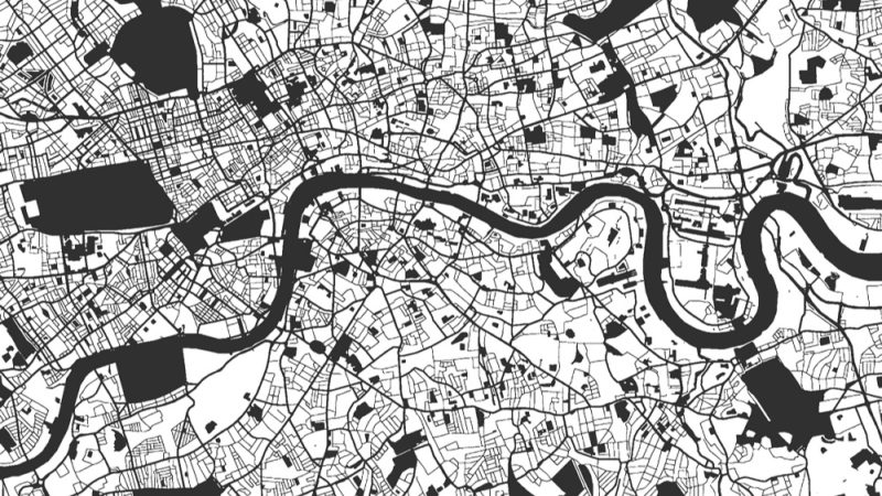 black and white map of London