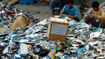 Destroyed counterfeit mobile phones in China