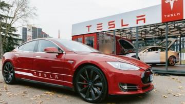 Tesla Model S at a showroom in Paris in November 2014