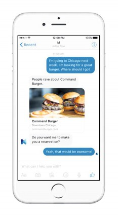 Facebook announced in August it was testing a new digital assistant, called M, inside its Messenger app