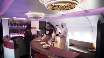 Bar arca for business class passengers of Qatar Airways