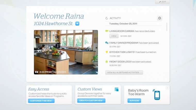 Screenshot of AT&T's Digital Life home security/ automation app