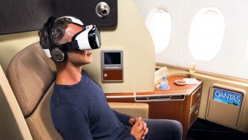 Qantas in January 2015 became the first airline to trial virtual reality entertainment, through a partnership with Samsung