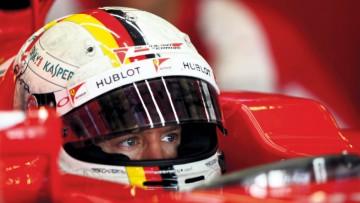 Sebastian Vettel of Ferrari, whose partners include Kaspersky, Hublot and Shell