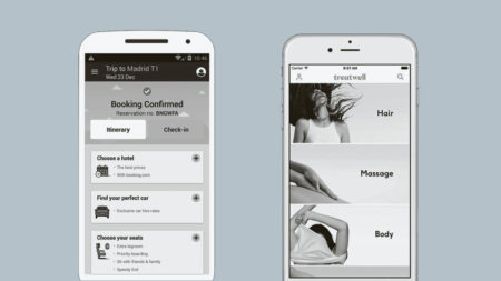 Smart phones displaying Ryanair and Treatwell app