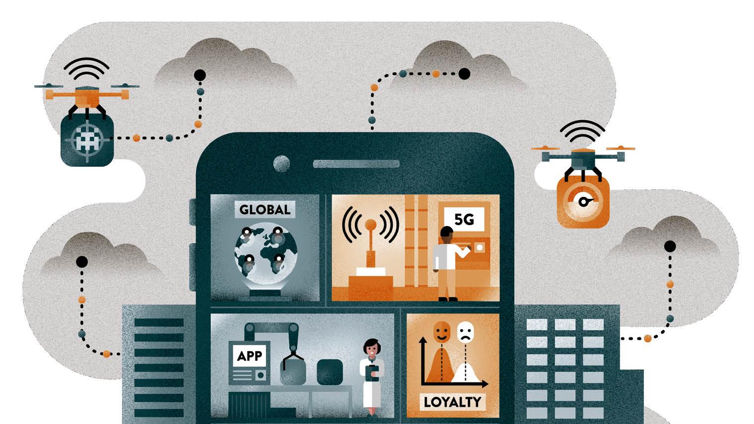 Illustration of mobile use