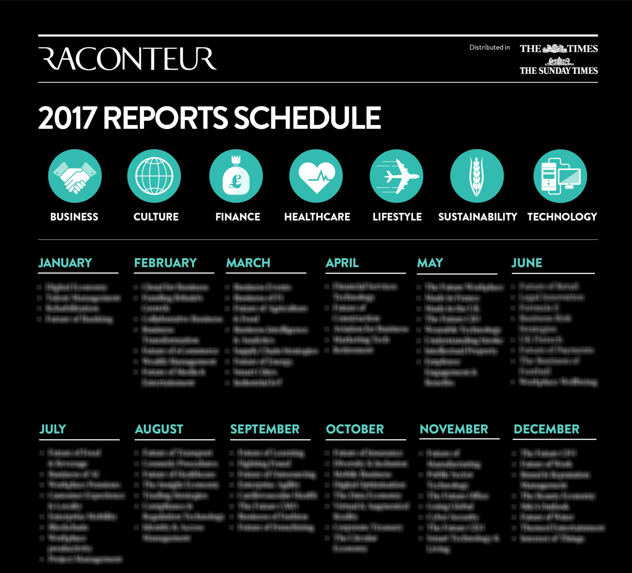 Special reports calendar