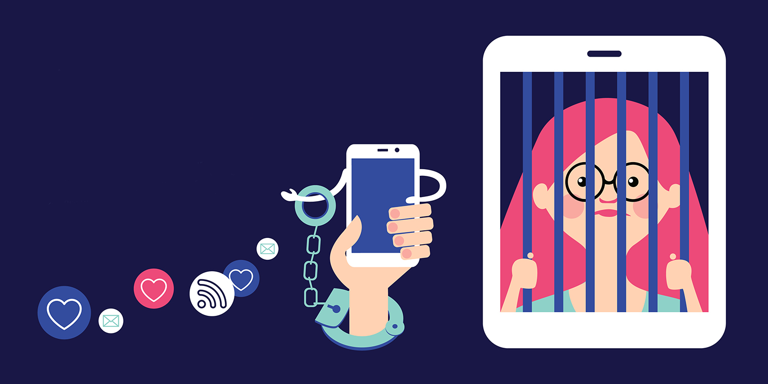 illustration of women trapped in a smartphone