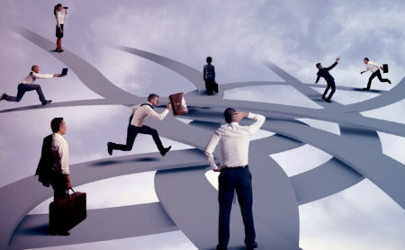 Professionals trying to conquer a digital maze