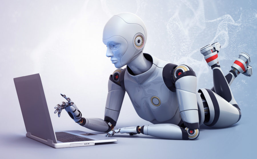Robot relaxing on a laptop
