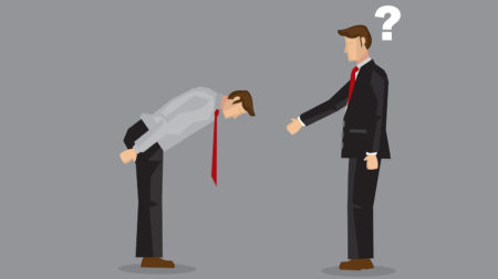 Illustration of man bowing and other man extending handshake