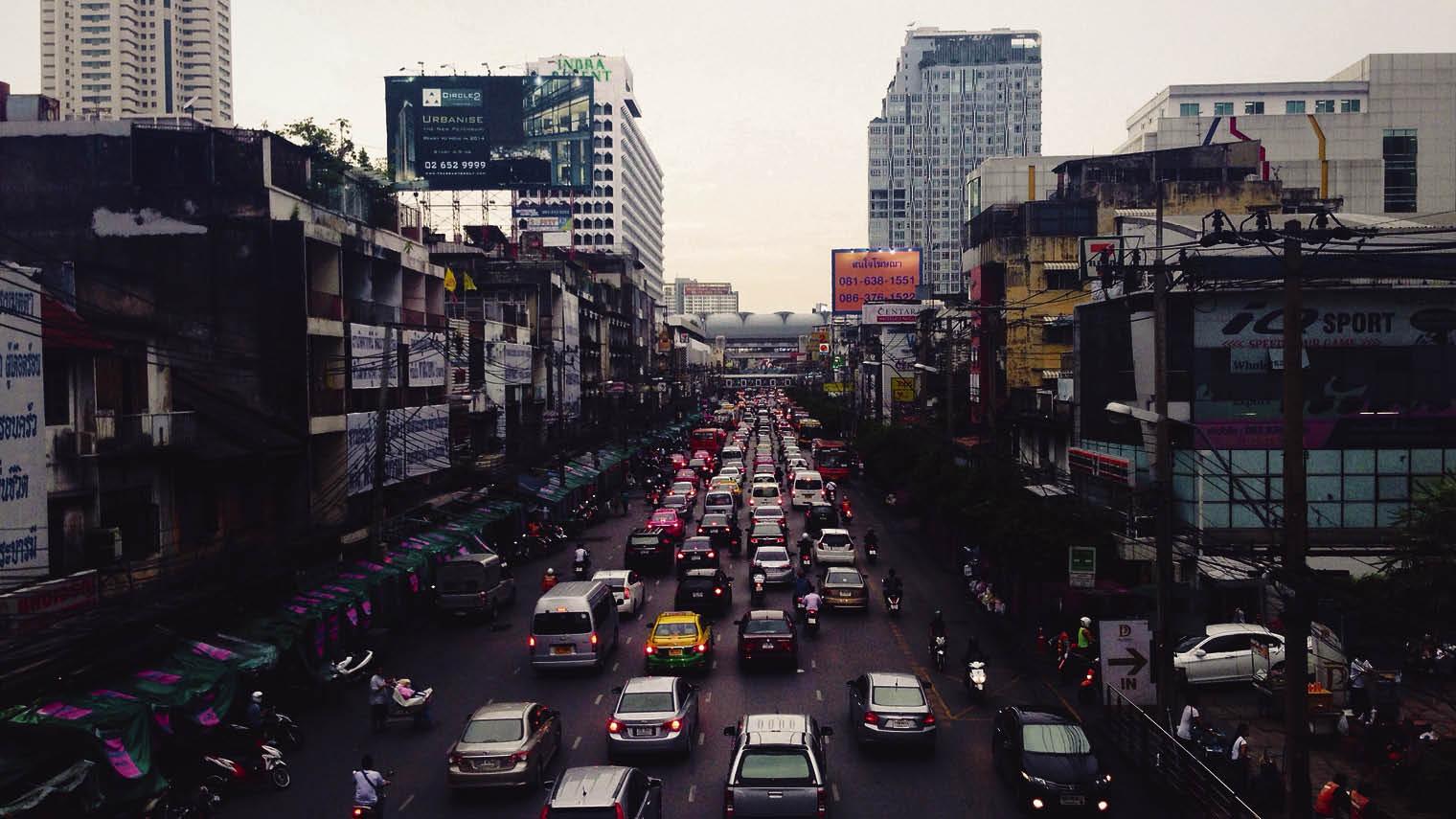 Busy city street full of traffic