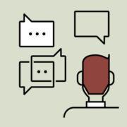 Illustration of person having a conversation