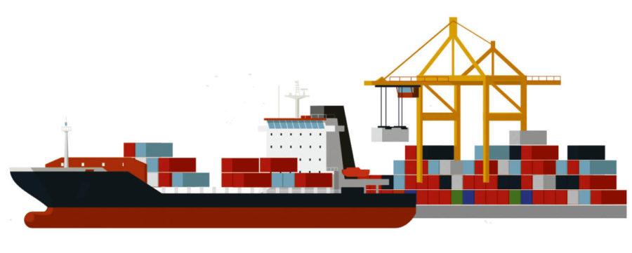 Ocean liner with crates