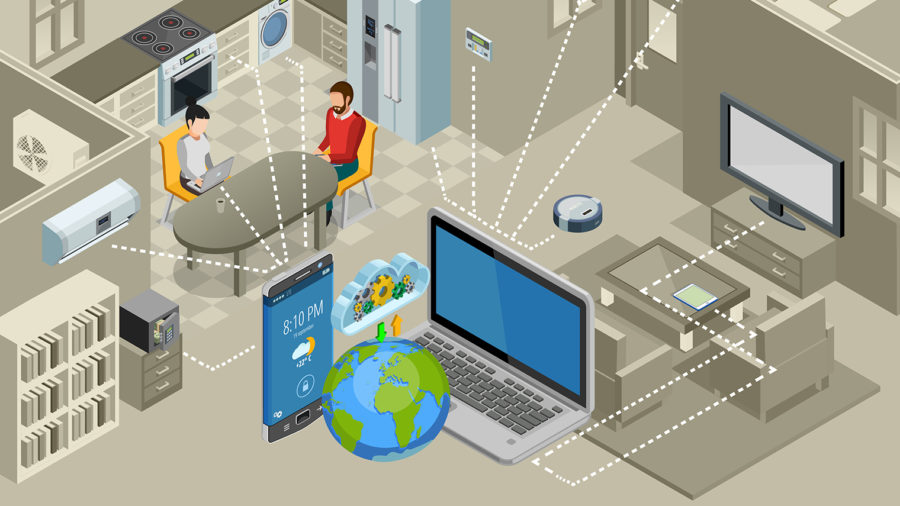 Illustration of a smart home connected to the internet