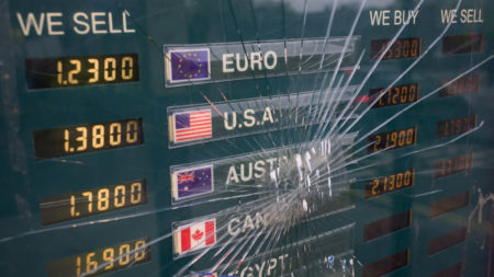 Smashed currency exchange rate board