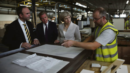 Theresa May with UK manufacuters