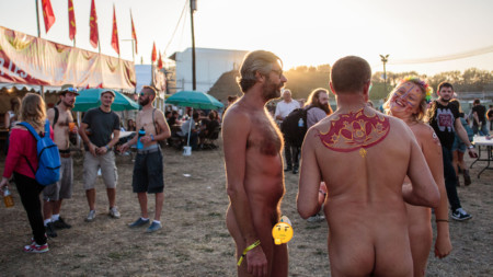 Naturist groups at Festival de l'Humanité music festival
