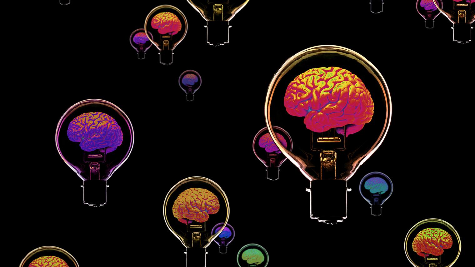 Brains within light bulb illustration