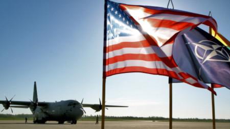 Plane and US flag