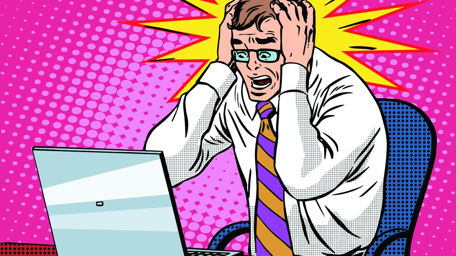 Pop art image of a man at a computer