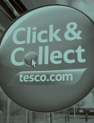 Tesco's click and collect sign