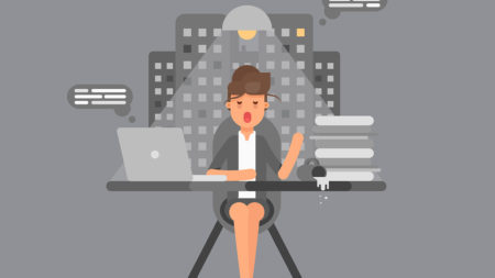 Female professional at a desk illustration