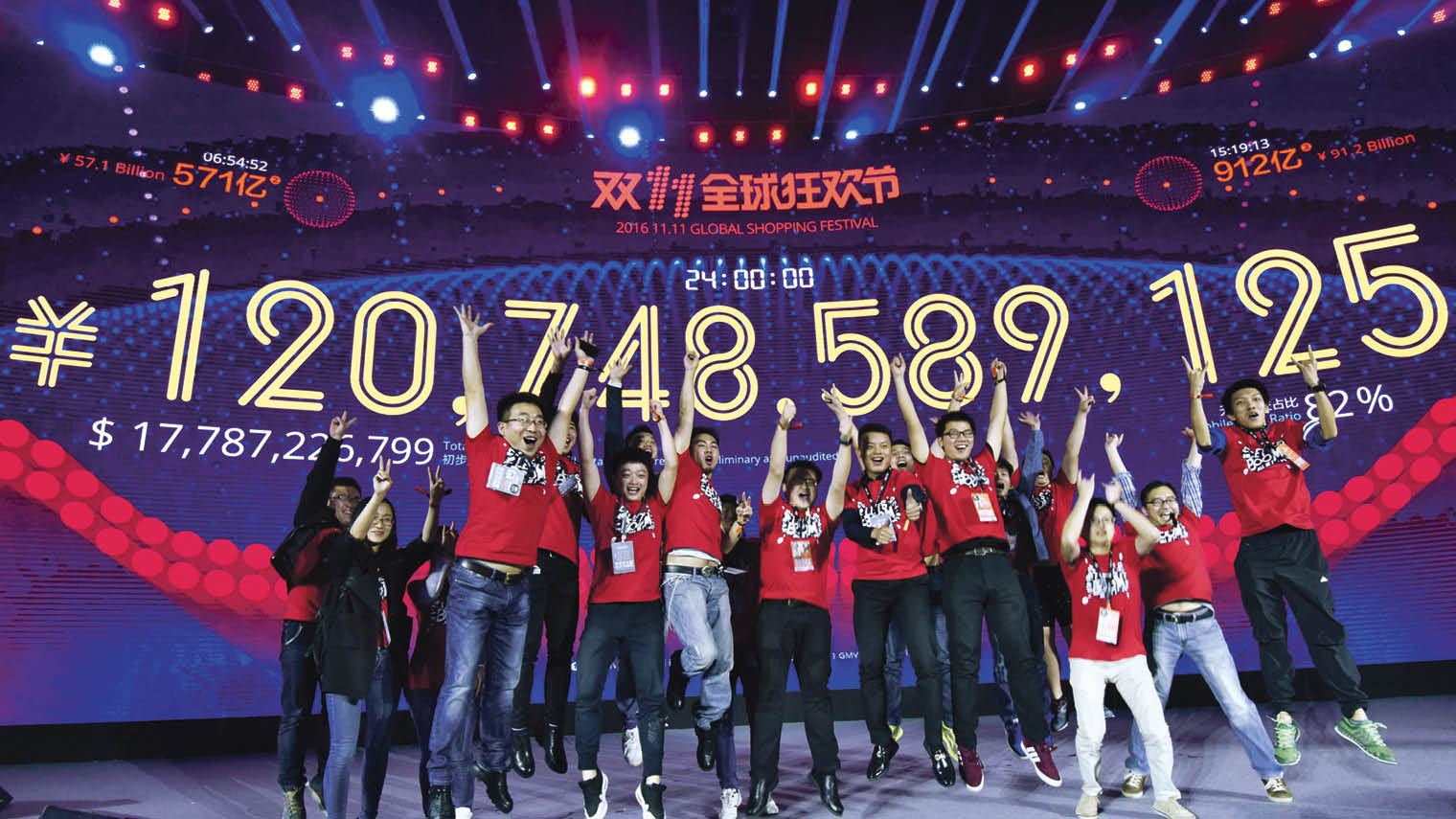 Alibaba celebrates its recordbreaking Singles' Day discount campaign in November, which generated sales worth 120.7 billion Chinese yuan or $17 billion