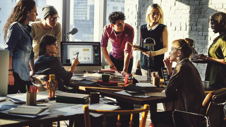 People in an office brainstorming