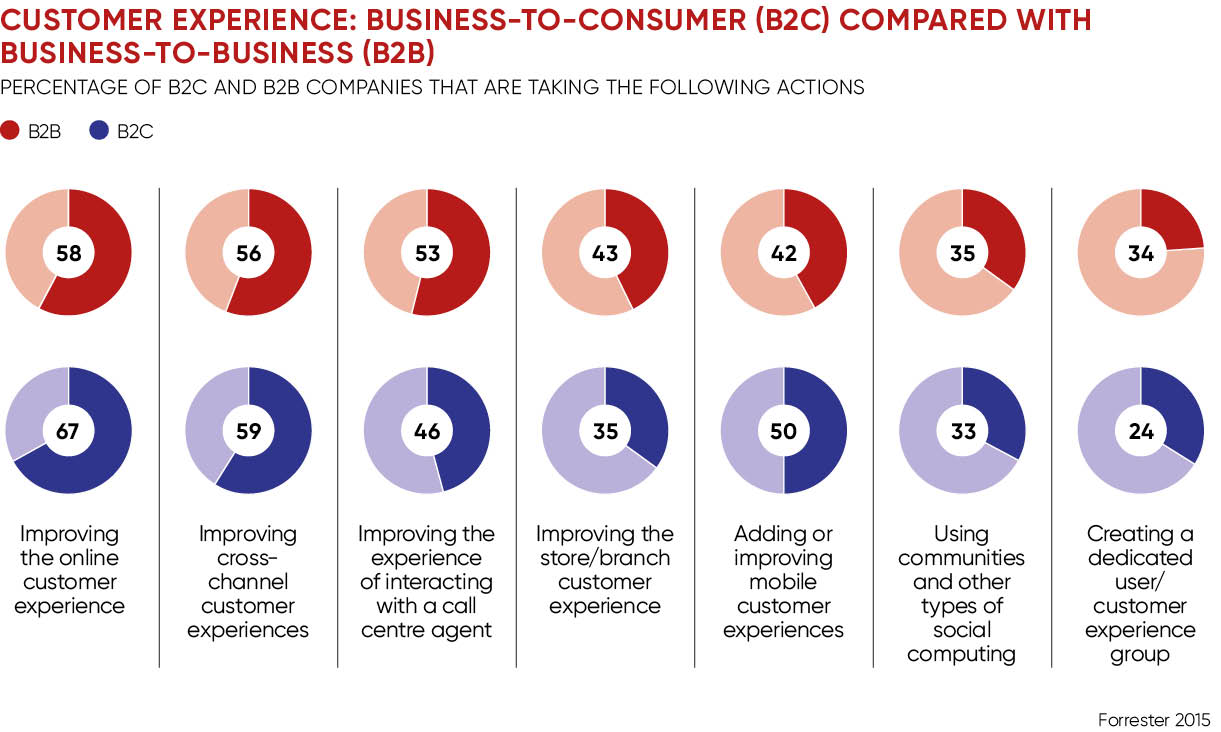 Customer experience in B2B pie charts