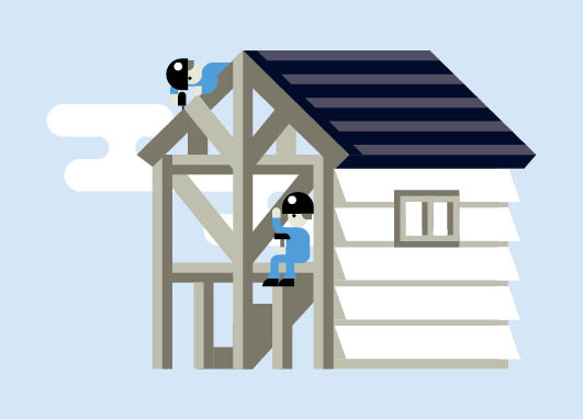 Illustration of builders building a house