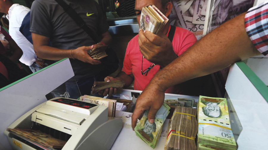 Venezuelan currency being counted