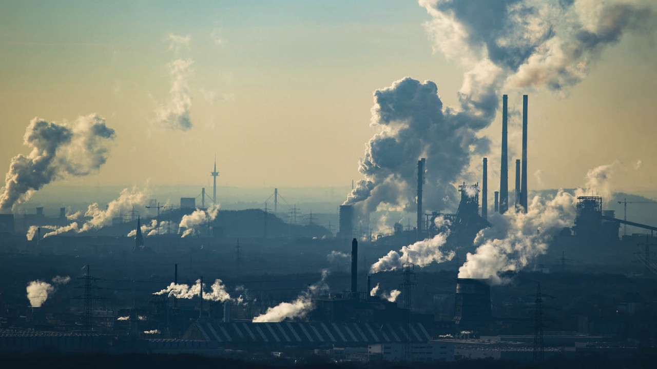 Factories with smoke emissions