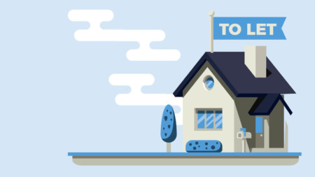 House illustration with let sign