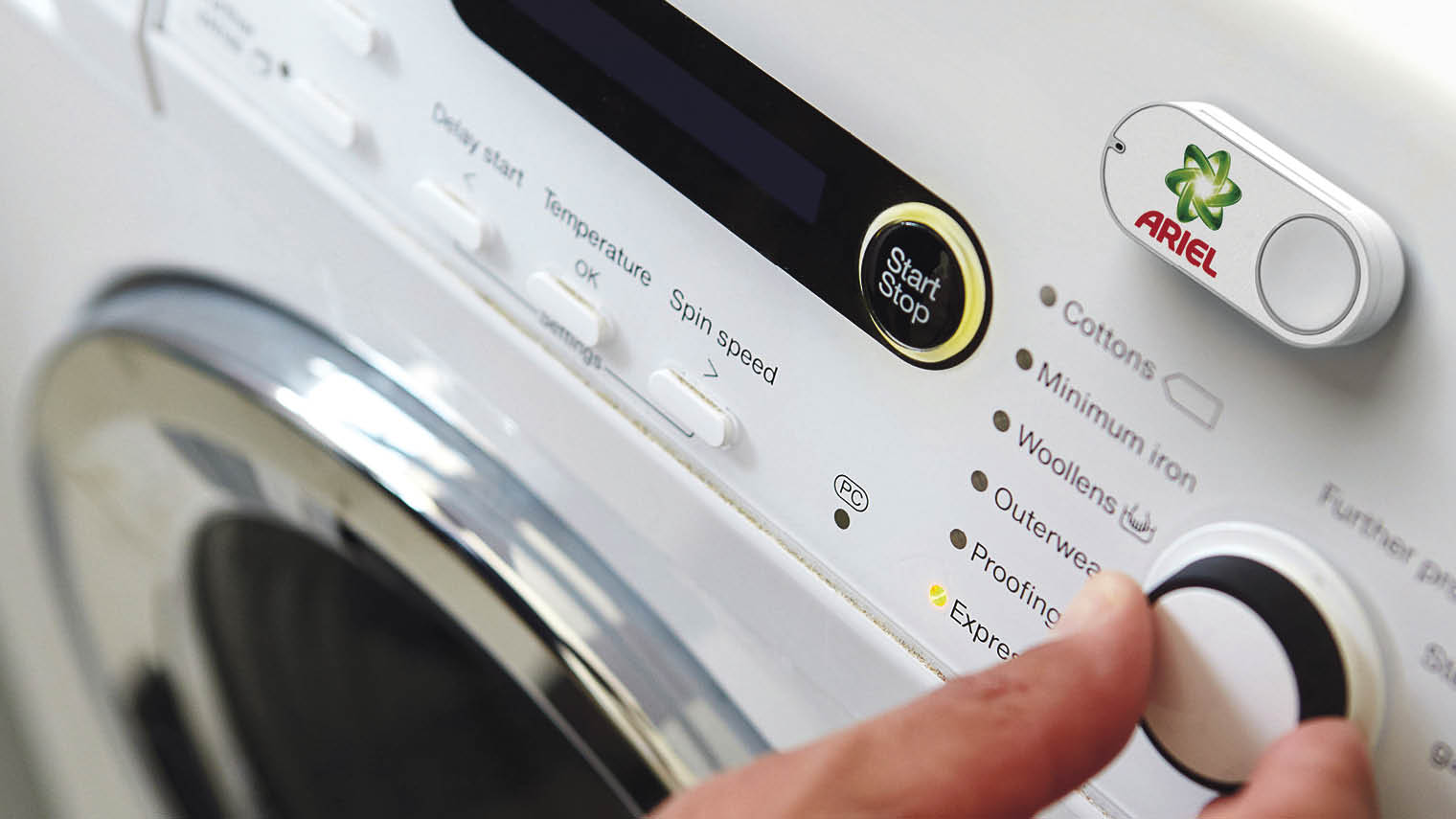 Amazon's Dash buttons are wi-fi connected devices to reorder products at a place convenient to the customer