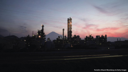 Industrial complex near Mount Fuji in Shizouka City, Japan