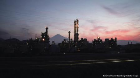 Industrial complex near Mount Fuji in Shizouka City, Japan