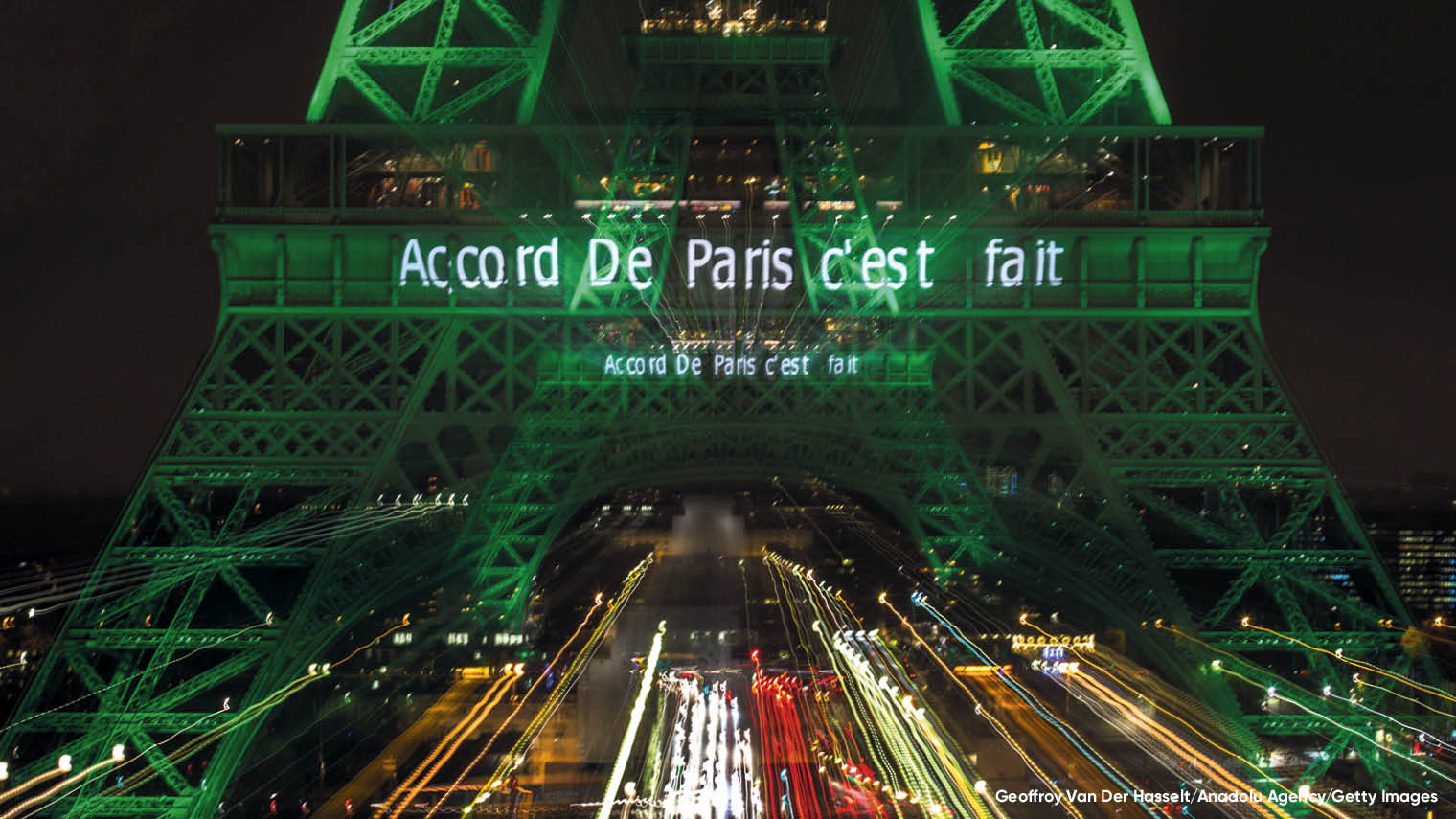 The Eiffel Tower lite up after Paris Agreement 2015