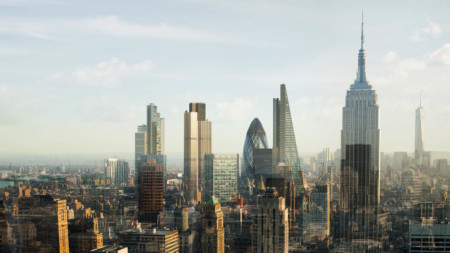 New York and London skyline merged
