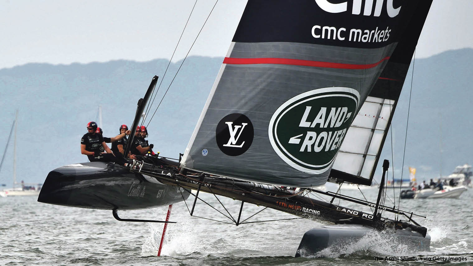 Skipper Sir Ben Ainslie and the Land Rover BAR team's performance data is transmitted through the cloud for immediate and efficient analysis