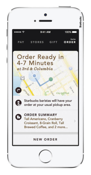 The Starbucks app minimises human contact by enabling customers to order and pay by phone
