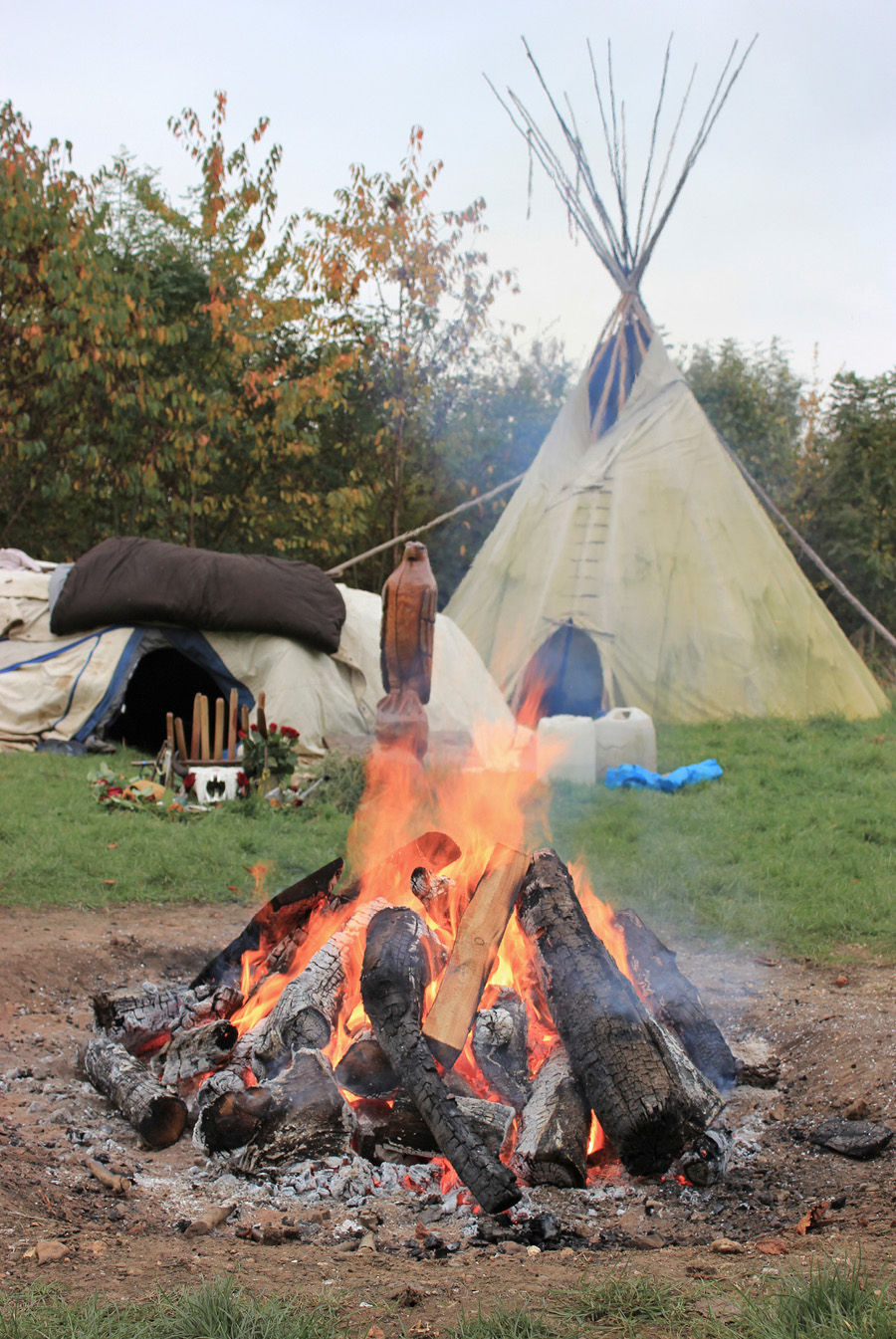 reparing for the sweat lodge ceremony at the Wind Spirit community in Oxfordshire