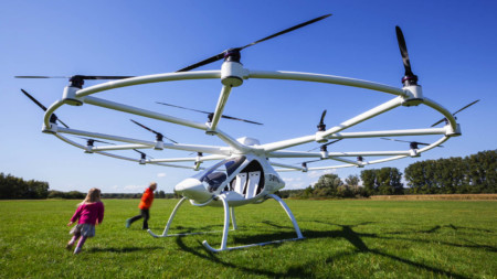 German drone manufacturer e-volo flew the first manned certified multicopter, the Volocopter VC200, in March last year