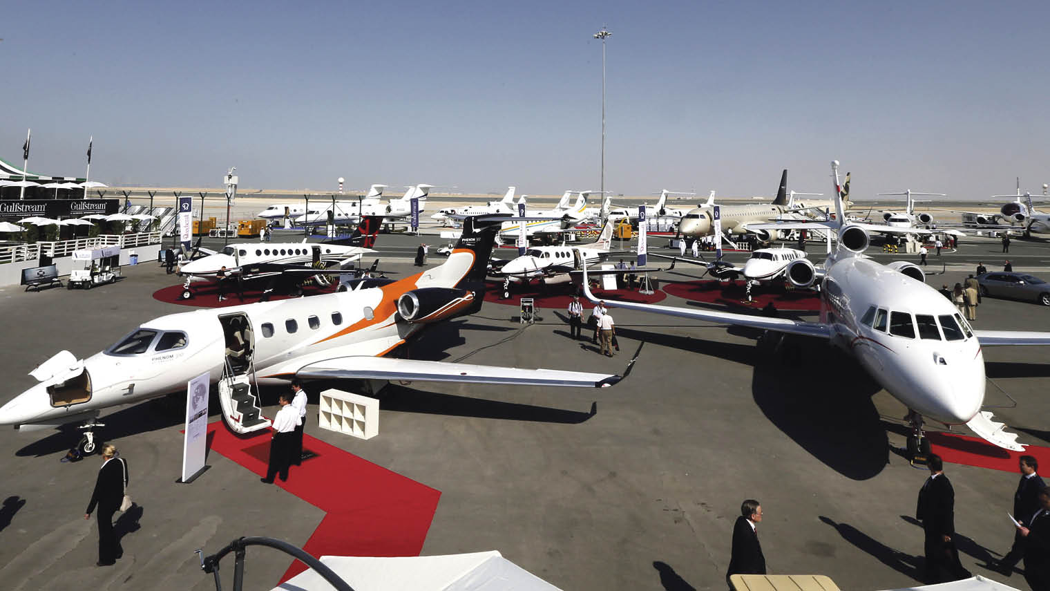Visitors at the Middle East Business Aviation event at Dubai's Al Maktoum Airport